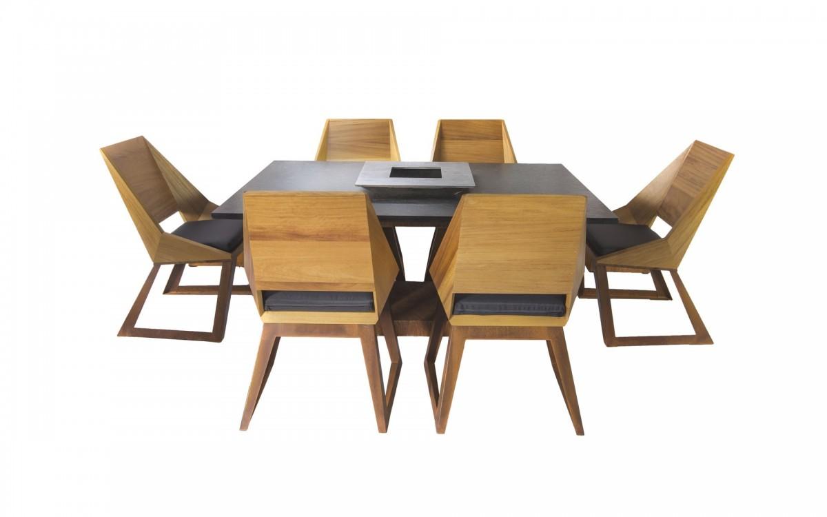 Ensemble table & chaises pour 6 personnes | Meubles de jardin Emyloly by  Nicolazi Design Structure Acier corten